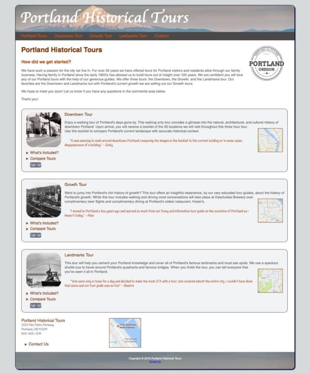 Portland Historical Tours Web Project