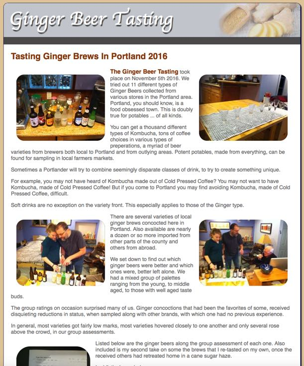 Ginger Beer Tasting Documented On The Web